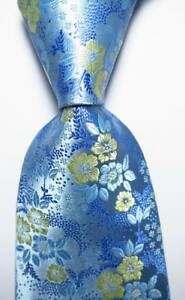 New-Classic-Floral-Blue-Light-Yellow-JACQUARD-WOVEN-100-Silk-Men-039-s-Tie-Necktie