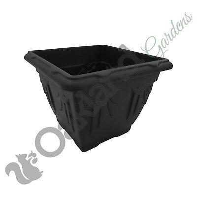3 x Venetian Square Plastic Planters 38cm Black Patio Flower Tub NEW
