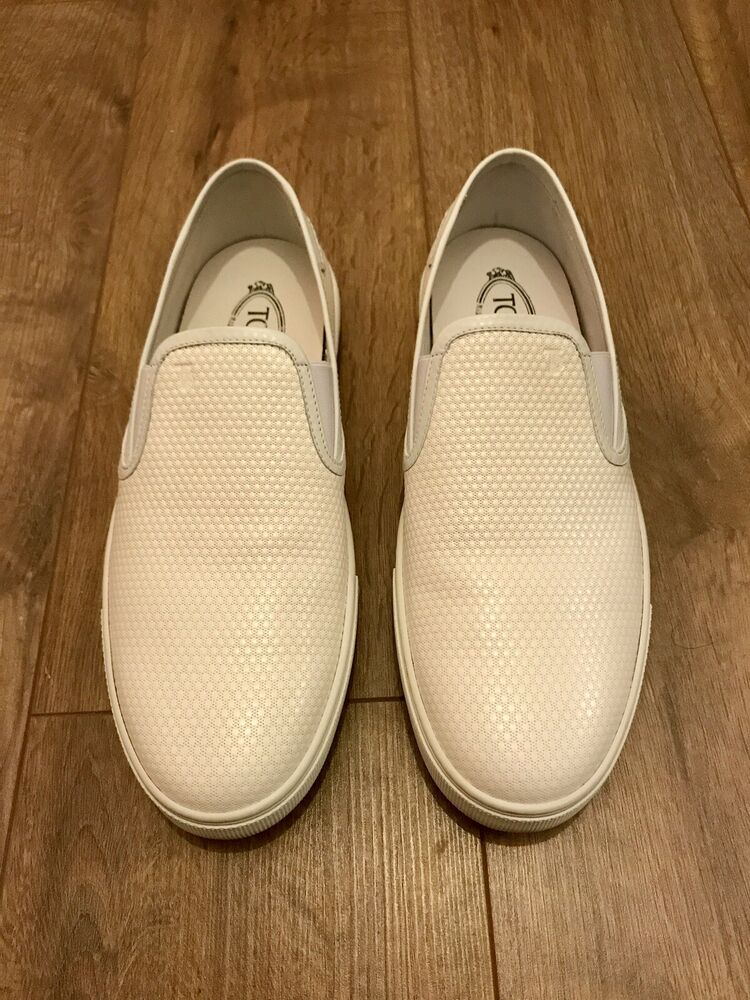 100% Authentique Tods Homme En Cuir Blanc Slip On Trainers Sneakers Uk 10 Mocassins