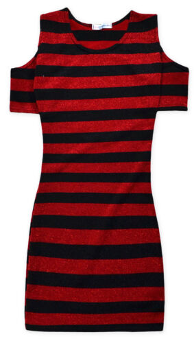 Girls New Cold Shoulder Dress Kids Black Red Stripe Party Dresses 7-13 Years