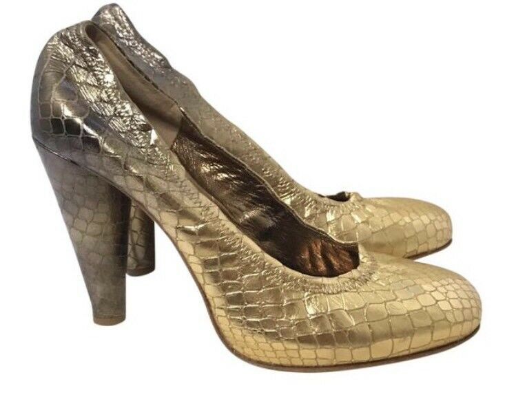 Cynthia Cynthia Cynthia Vincent gold Bronze Python Embroidered Pumps Sz US10 EU40 Retail  390 7fa557