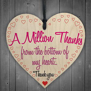 A Million Thanks From My Heart Wooden Hanging Thank You
