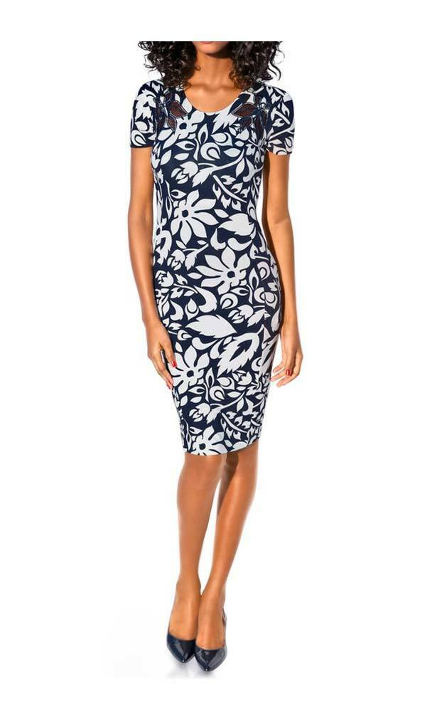 Elegantes Kleid Mit Netzeinsatz In Blütenform Am Ausschnitt Class International