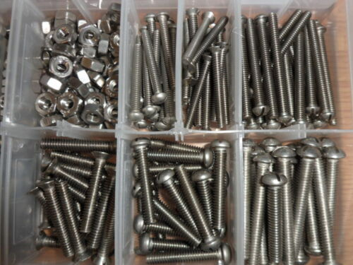 STAINLESS STEEL SCREWS /& NUTS BOXED ASSORTMENT. 3//16 /& 1//4 WHITWORTH 400 PEICE