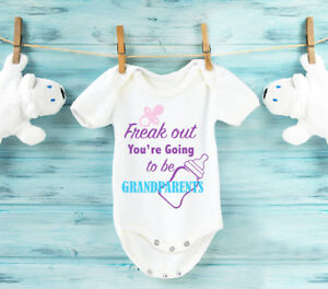 Pregnancy reveal Grammy to be baby grow bodysuit vest baby reveal to Grandma