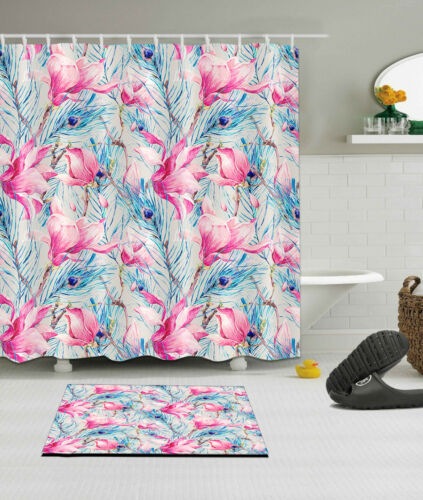 Peacock Feather Leaves Floral Shower Curtain Hook Bathroom Mat Waterproof Fabric