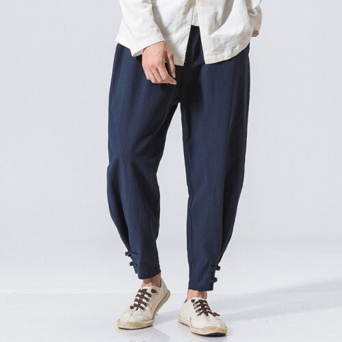 Vogue Retro Mens Harem Pants Hot Baggy Cotton Linen Trousers Frog Button Chinese