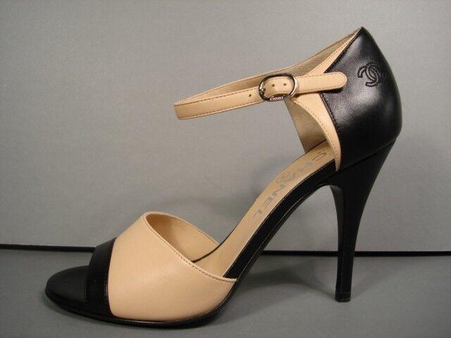 97788fd21a83 CHANEL Beige Black Leather Open Toe Mary Jane Classic PUMPS HEELS CC 37c 7