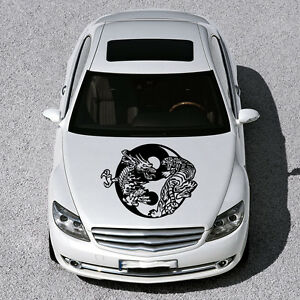 Dragon Tiger Sign Yin And Yang Hood Car Vinyl Sticker Decals