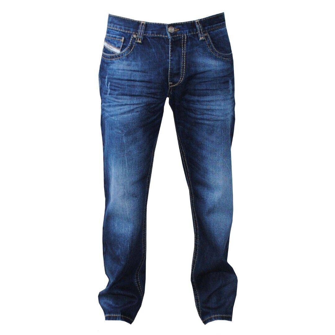 Viazoni Jeans Hugo Blau (Loose Fit-hervorgehobene Ziernähte)
