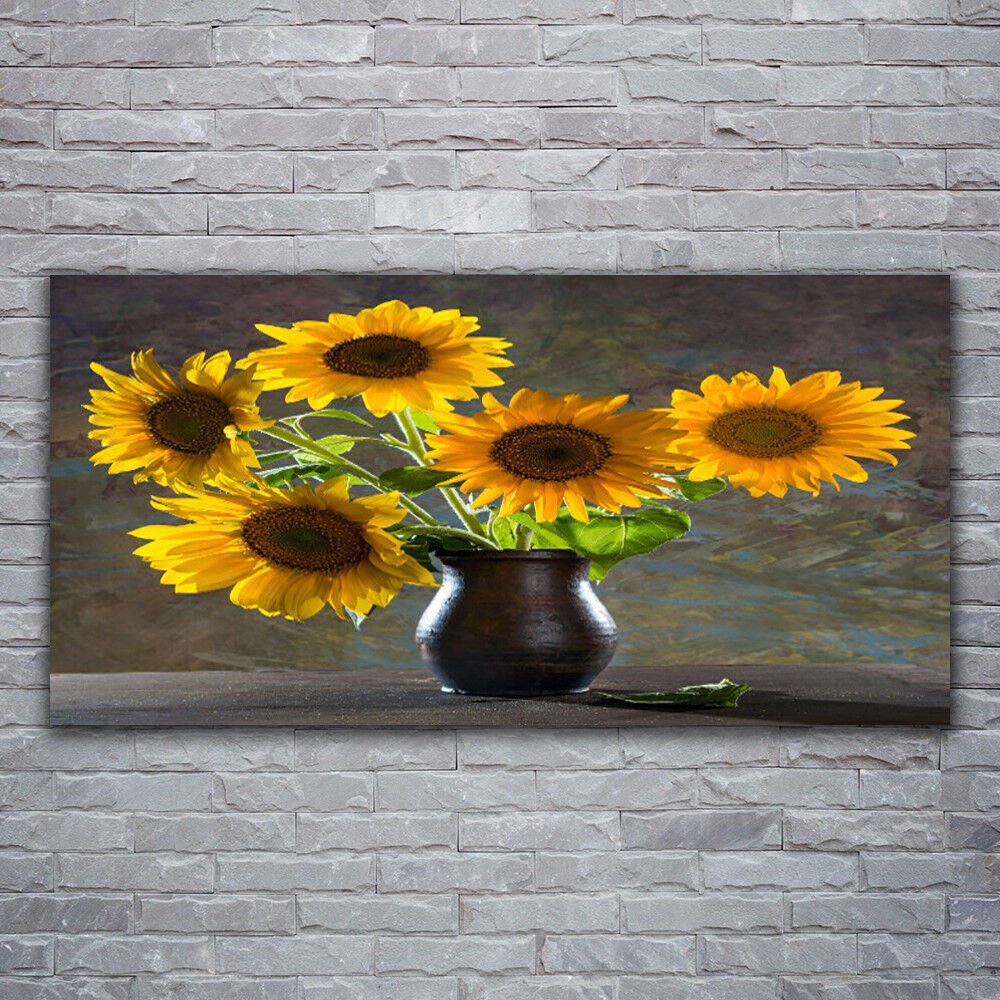 Verre Imprimer Wall Art Image 120x60 Photo tournesol Vase floral