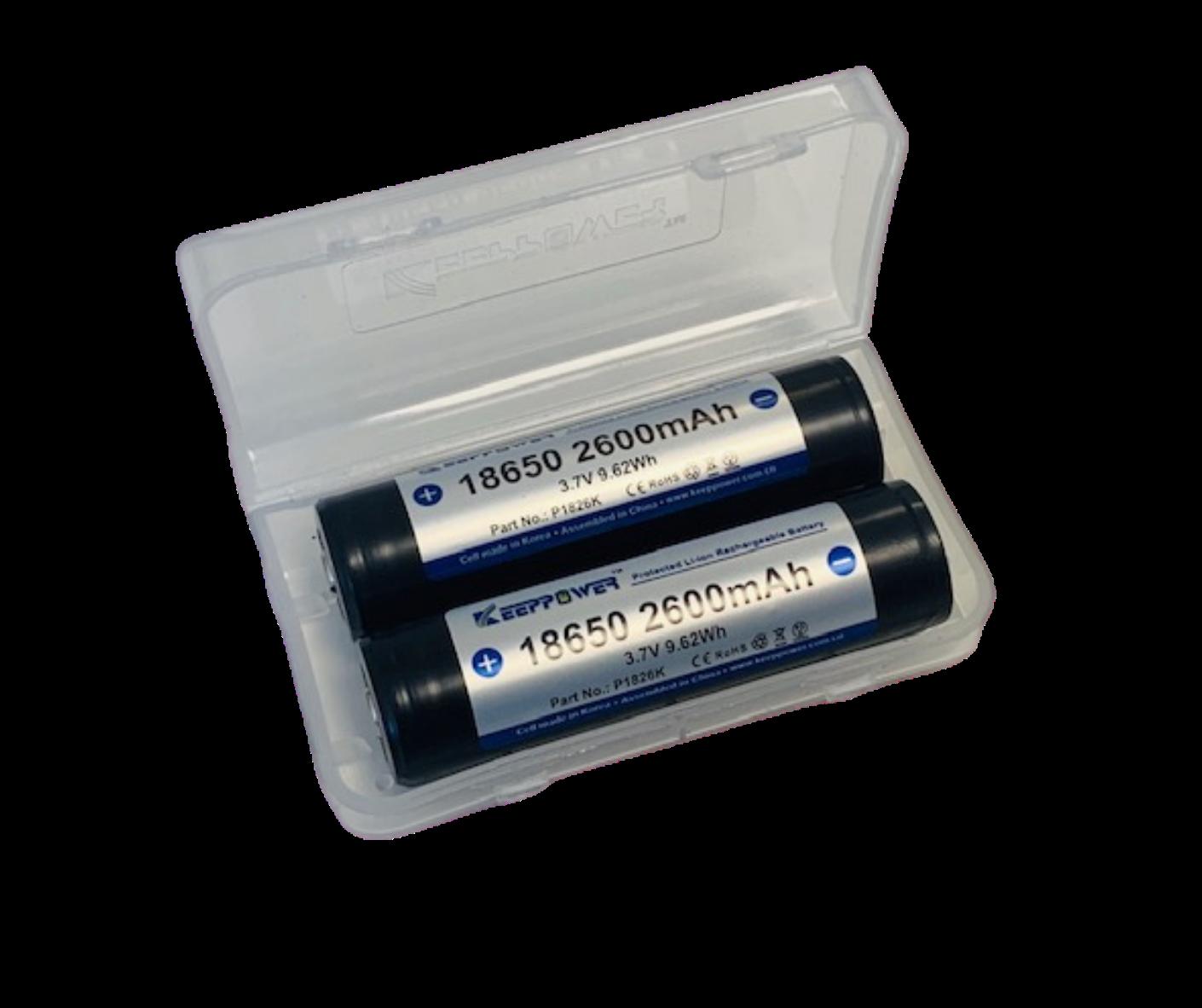 2x KEEPPOWER 18650 Lithium Battery 3,6V 2600mAh (Proof)