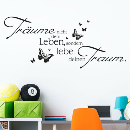 Wandaufkleber Wandtattoo Träume nicht dein Leben Spruch Schmetterling KLEBEHELD®