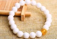 Ice White & Yellow Jade Beaded Stretch Bracelet Gemstone 8mm