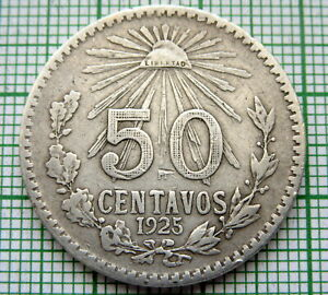 MEXICO-1925-M-50-CENTAVOS-SILVER-SCARCE-DATE