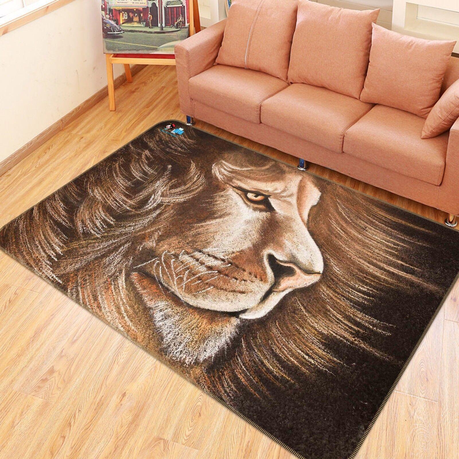 3D Carino Leone disegnare 442 tappetino antiscivolo tappeto camera Tappetino Qualità Elegante foto Tappeto UK