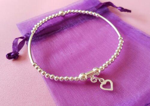 Grano de plata esterlina pulsera con dijes de apilamiento fideos 925 elástico del encanto del corazón