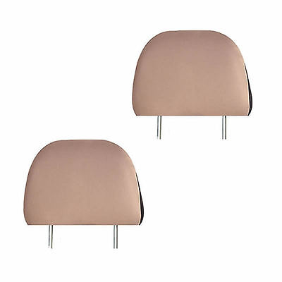 SOLID BEIGE 2 PIECES SET CAR SEAT HEADREST COVERS FOR CAR TRUCK SUV VAN - 1 PAIR