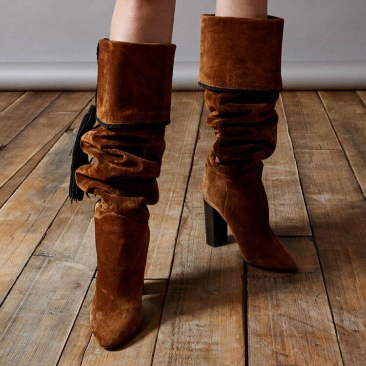 Para mujeres Damas Moda Imitación Gamuza Borla Bloque Talón Slouchy la rodilla botas altas Zapatos