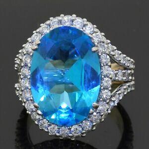 Vendoro-heavy-18K-2-tone-gold-13-76CTW-VS-diamond-amp-Blue-topaz-cocktail-ring