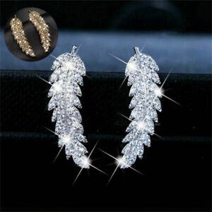 Vintage-Women-White-TopazSilver-Leaf-Ear-Hook-Dangle-Drop-Earrings-Gift