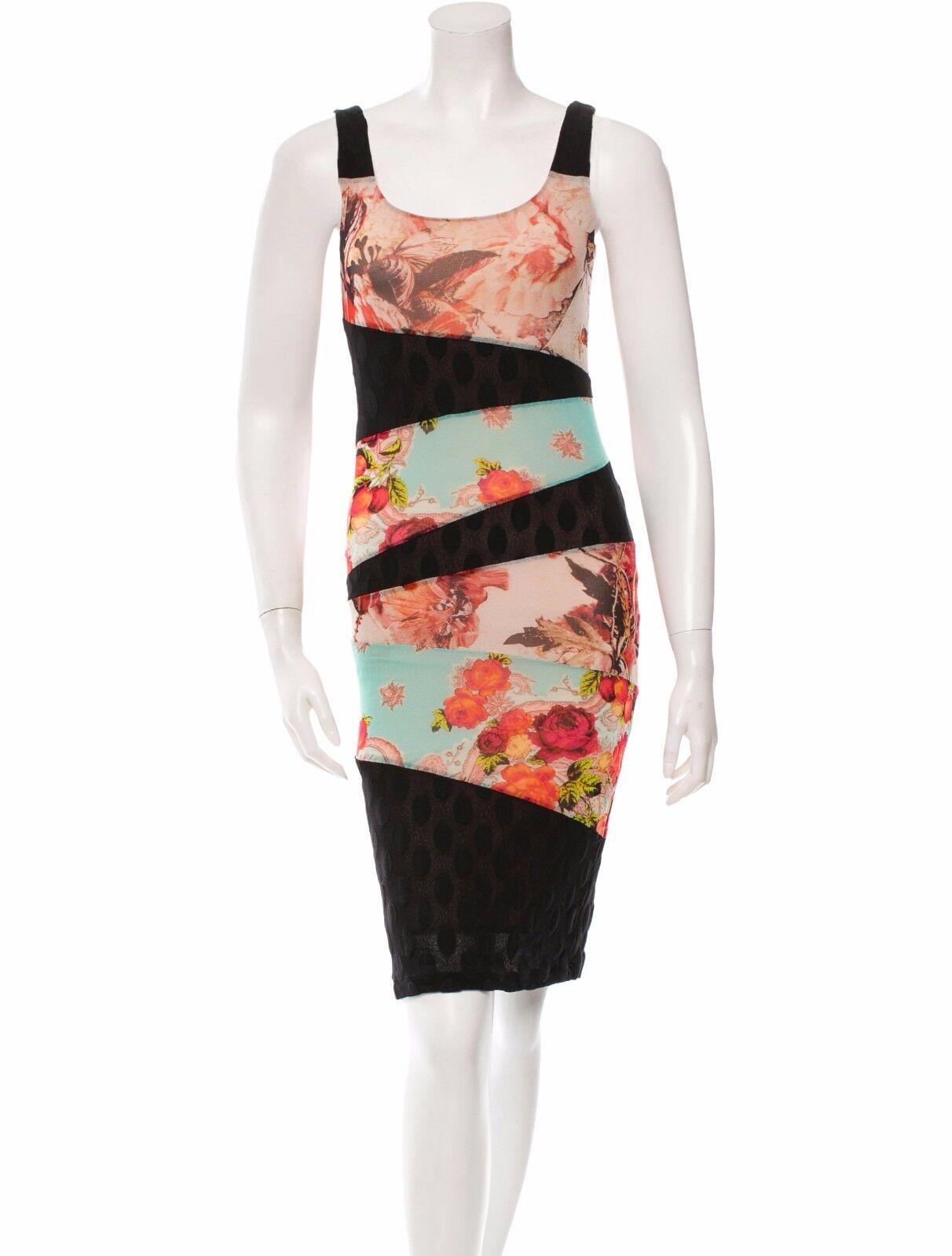 Hermosa Nueva JEAN PAUL GAULTIER vestido  de malla de impresión de múltiples  presentando toda la última moda de la calle