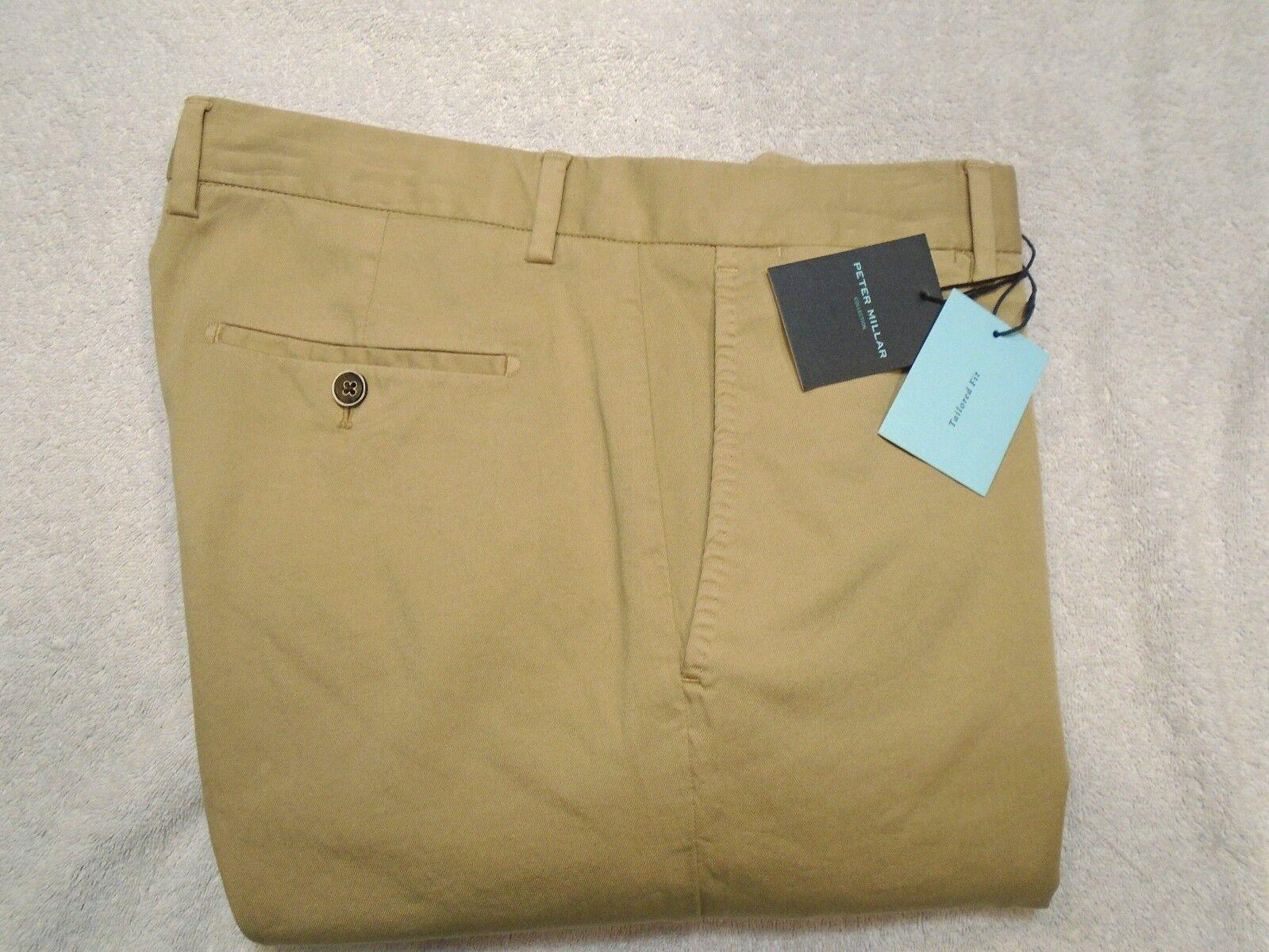 Peter Millar Collection Cotton Blend Twill Pants NWT  34 x 36 Khaki Tan