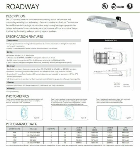 LED Silver Area Roadway Parking Lot Light 100W 150W Commercial Photocell 5000K