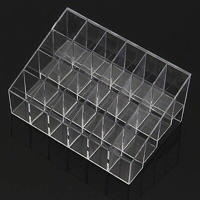 24 Trapezoid Clear Makeup Display Lipstick Stand Case Cosmetic Organizer Holder