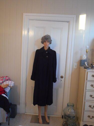 Vintage Black Wool Coat Furriers Louella New York
