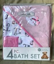 New Rene Rofe Baby 4 Pc. Bath Set Terry Cloth Girl's Cute Cats Pink/White/Black