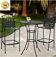 Tall Bistro Set Outdoor Wrought Iron Bar Height Deck Porch Pub Table Chairs 3 Pc