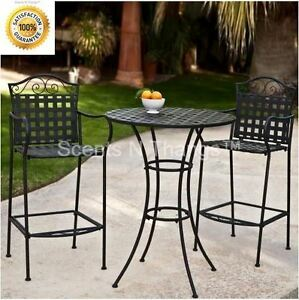 Image Is Loading Tall Bistro Set Bar Height Outdoor Wrought Iron