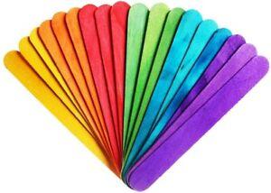 Jumbo-COLORATI-IN-LEGNO-LECCA-LECCA-Ice-Lolly-Pop-Bastoncini-Craft-150-x-18mm-Bambini-Craft