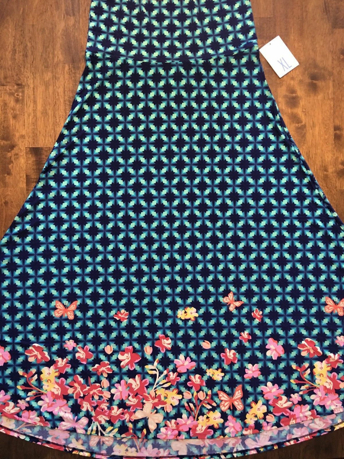 LARGE LuLaRoe MAXI DIPPED SKIRT bluee BUTTERFLIES butterfly flowers diamond NWT L