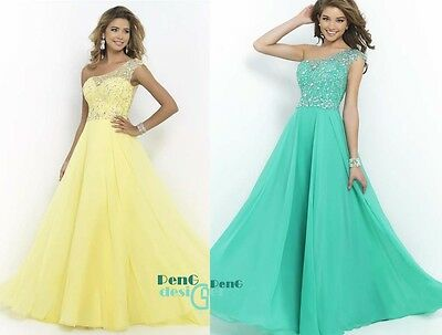 One Shoulder Evening Formal Cocktail Party Ball Gown Prom Dress Bridesmaid Dress