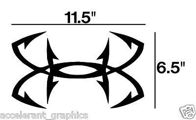 "Under Armour BIG!!!! 6.5""x 11.5""  fishing hooks car truck window Decal Sticker"