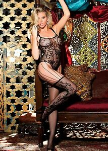 Black-Lace-Strappy-Thong-Style-Bodystocking-One-Size-Shirley-of-Hollywood-90301