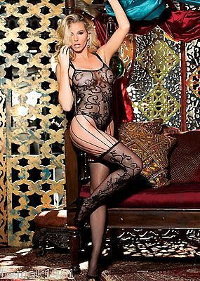 Black Lace Strappy Thong Style Bodystocking One Size Shirley of Hollywood 90301