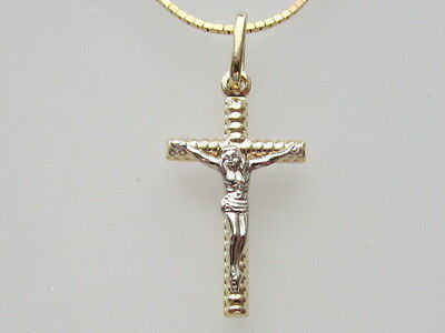 18k  Gold Two Tone Italian Crucifix Pendant and Chain, New | eBay