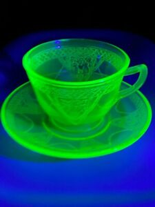 Vintage-Federal-Georgian-Love-Bird-Green-Vaseline-Glass-Cup-and-Saucer