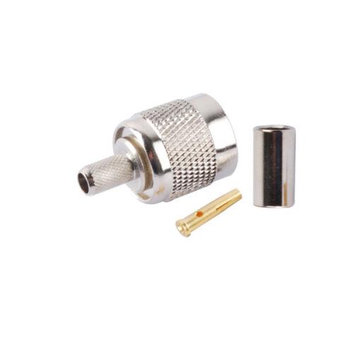 30x RP-TNC male plug jack center crimp RG58 RG400 LMR195 cable RF coax connector