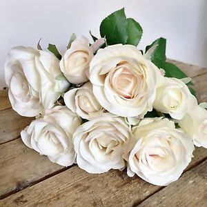 Bunch of 9 ivory artificial rose buds silk flowers realistic white image is loading bunch of 9 ivory artificial rose buds silk mightylinksfo