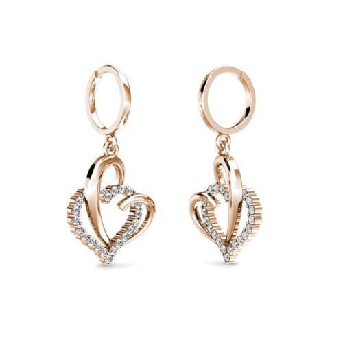 14k Solid Rose Gold 1.20Ct Diamond Open Heart Dangle Huggie Hoop Earrings
