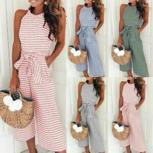 Womens-Jumpsuit-Ladies-Playsuit-UK-Summer-Beach-Holiday-Striped-Dress-Plus-Size