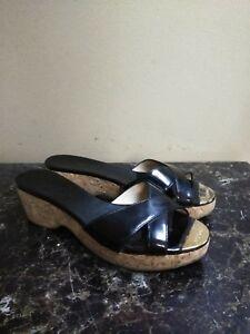 055efc6f22fd Jimmy Choo Patent Leather Cork Wedge Mule Sandal Size 37.5 Black ...