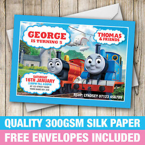 Details About Thomas The Tank Engine Birthday Party Invitations Invites With Free Envelopes