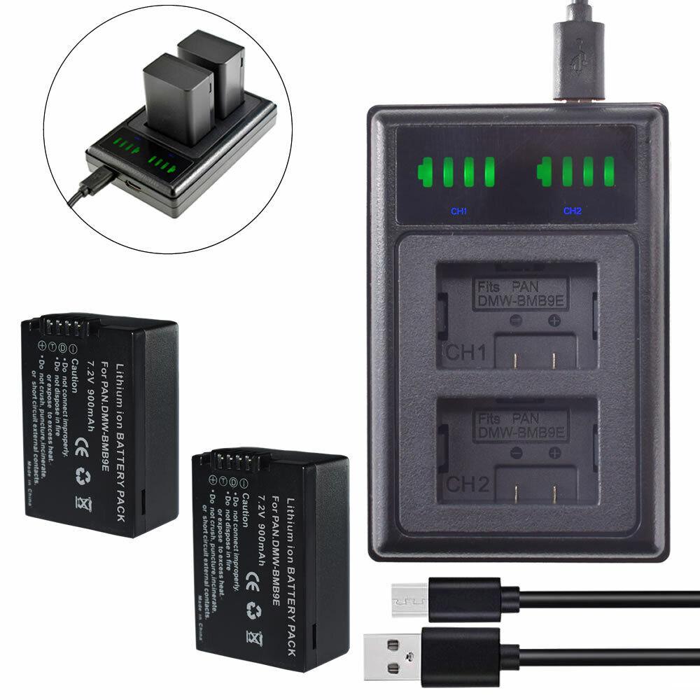 2X DMW-BMB9 BMB9GK BMB9PP Battery + charger for Panasonic Lumix DC-FZ82 DC-FZ80