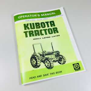 kubota l3750 l4150 operators owners manual diesel maintenance