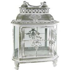 Green with White Wash Shabby-chic Metal Lantern. Vintage Elegant Look Home Decor